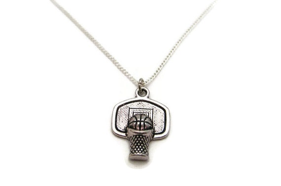 basketball necklace basketball hoop necklace sports necklace