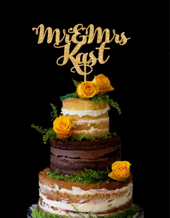 Wedding Cake Toppers with Last Names Personalized Cake