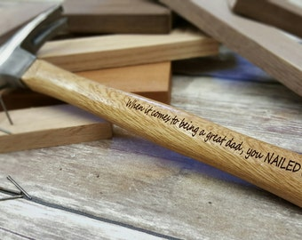 Father's Day Gift - Great Dad Gift - Engraved Wooden Handled Hammer - Personalized Hammer