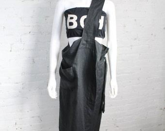 1980s Issey Miyake Plantation Apron Dress Black Linen Avant Garde Japanese Rare XS