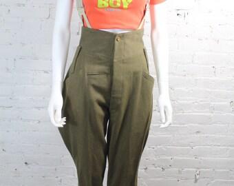 1920s Edwardian Jodhpurs Pants Military Green Wool High Waist Suspenders Riding Breeches