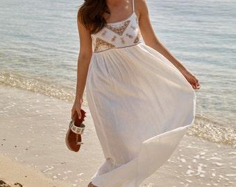 Maxi dress: Floaty cotton maxi summer dress, Beach dress, Aurianne