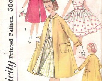 Vintage Girls' One-Piece DRESS and COAT, Simplicity 1934 Sewing Pattern,  Size 8