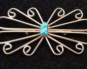 Southwest Silver and Turquoise Pin - large pin makes a statement - nearly 3 inches long! FREE shipping!