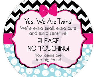 We are Twins Preemie Sign, newborn, baby car seat tag, baby shower gift, stroller tag, baby Preemie no touching car seat sign