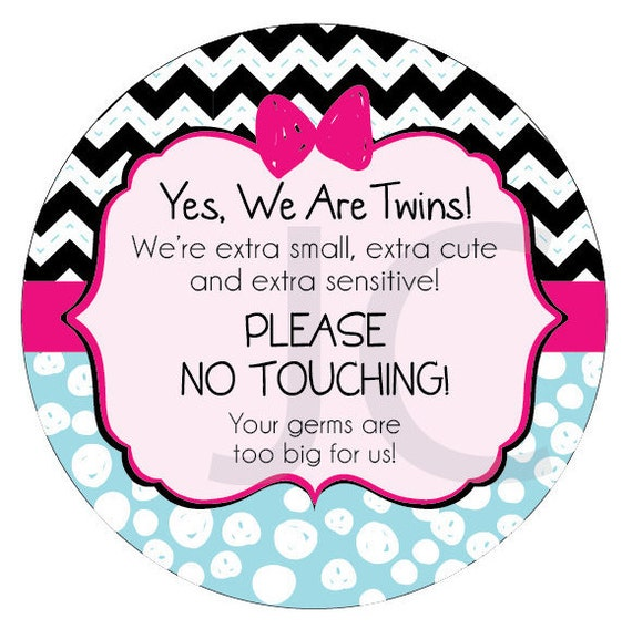 We are Twins Preemie, newborn, baby car seat tag, baby shower gift, stroller tag, baby Preemie no touching car seat sign