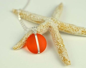 Orange sea glass pendant wire wrapped jewelry wire wrapped pendant wire wrapped sea glass jewelry orange jewelry handcrafted necklace gift