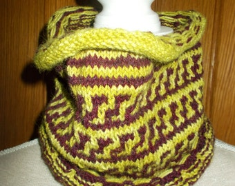 Lime Green and Burgundy cowl made from 100% alpaca and llama yarn