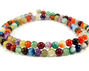 Agate Beads, 4mm Round Multicolor Agate Bead Strands, 1 Full Strand Semiprecious Gemstone Beads, Loose Beads, Agate Bead Findings