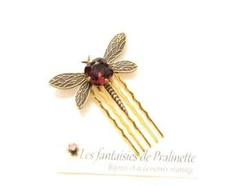 Peigne libellule et cristal, bijoux mariage soirée témoins - Bridesmaids bridal crystal dragonfly hair comb