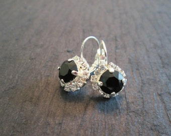 Jet Black Swarovski Earrings/Bridesmaid Earrings/ Black Crystal Earrings/Designer Inspired/Black Swarovski Earrings/ Mother of The Bride