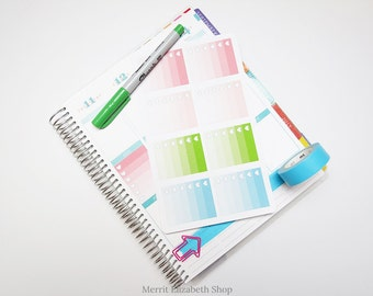 Ombre Heart Checklist Full Weekly Box Sticker Sheet : Spring Fling Theme Planner Stickers