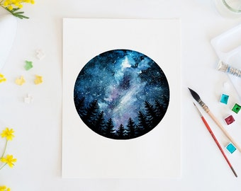Mini galaxy, watercolor print, galaxy, space, wall art, art print, home decor, watercolor art, stars