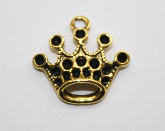 Crown charms, Princess Crown Charms, Gold Charms - 20ct - 17x17mm - #516