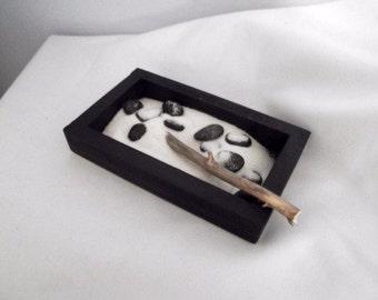 Zen Garden, Mini Zen Garden, Tiny Zen Garden, Small Zen Garden, Black Zen Garden