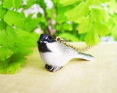 Porcelain Chickadee Pendant Necklace, Small Glazed Ceramic Bird Necklace with Bronze Chain