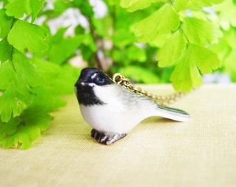 Porcelain Chickadee Pendant Necklace, Small Glazed Ceramic Bird Necklace with Bronze Chain