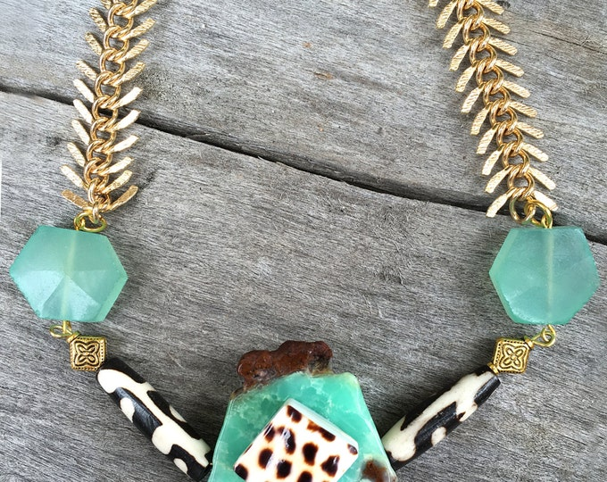 Handmade Tribal Necklace, Boho, Warrior, Gypsy, Arrow, Bone, Wood, Goddess, Summer, Sexy, Unique, Statement, Amazonite  (Azrael Necklace)