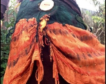The 'Wildwood Tangerina' Lagenlook Tattered Pixie Skirt Nuno Felted Woodland Tree Roots & Recycled Fabric Festival Clothing Wearable Art