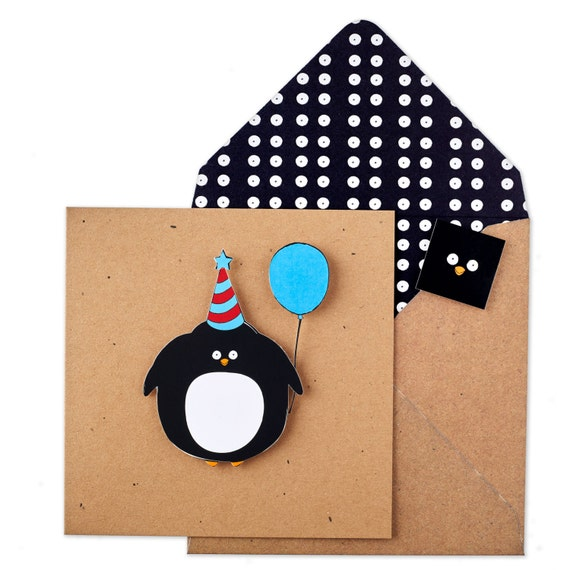handmade penguin birthday card illustrated cute funny, Birthday card