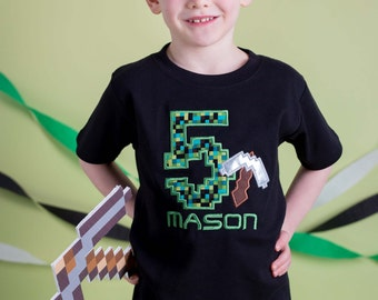 Boy's Gaming Birthday Shirt with Pick-axe, Number and Name
