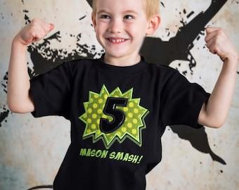 Boy's Superhero Smash Number Birthday Shirt with Embroidered Name
