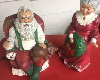 Vintage handpainted animated ceramic Santa Claus and Mrs. Claus
