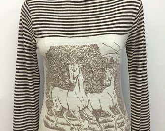 Vintage 1970s WARD soft knit striped HORSE sweater - brown and ivory striped pattern - size SMALL
