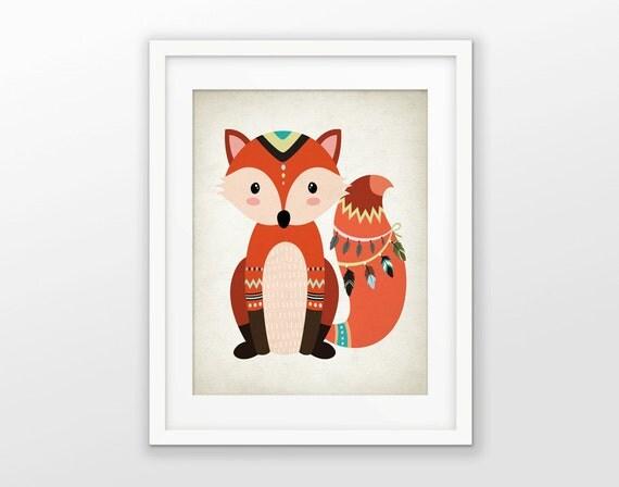 Tribal Fox Nursery Decor Print Funky Animal By Fineartgiftshop