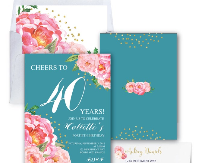 Teal 40th Birthday Invitation // Fortieth Birthday Invitation // Pink // Flowers // Peony // Pink // Gold Glitter // BORDEAUX COLLECTION