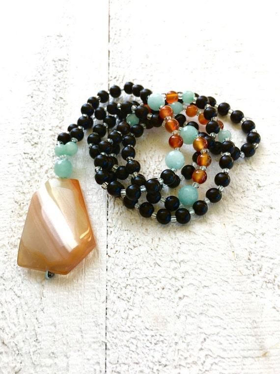 Beaded Mala Necklace, Autumn Mala Beads, 108 Mala Beads, Yoga Mala Necklace, Mala For Meditation, Bohemian Jewelry, Amazonite And Carnelian