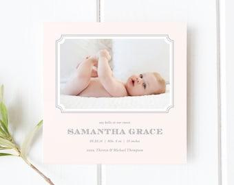 Blush Birth Announcement   Photo Birth Announcement Card