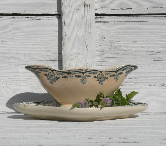 French antique ironstone sauce boat, vintage gravy boat, teal transferware, shabby chic, country home, country cottage, antique kitchen