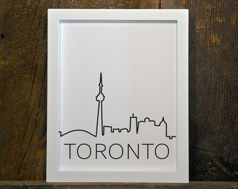 TORONTO SKYLINE, cityscape, instant download, wall art, printable, print, city, buildings, black & white
