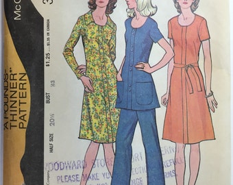 Vintage 70's, McCall's 3204, Easy Knits, Half Size Pattern, 20 1/2, Bust 43, Dress, Tunic & Pants uncut from 1972