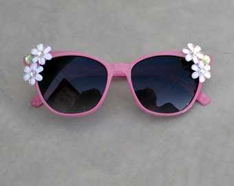 Sunglasses Pink with Rhinestone Embellishment