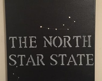 North Star State Canvas in Black Silver and White