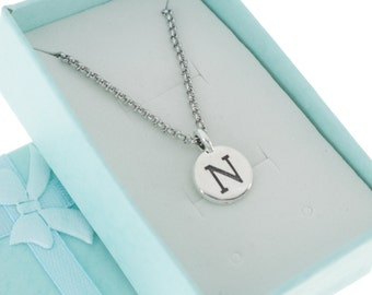 Antique Silver Plated Pewter Initial Charm Necklace.  Initial Necklace. Initial Charm. Initial Jewelry. Letter N. necklace.