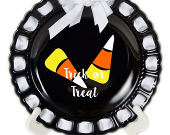 Personalized Halloween Plate ~ Prissy Plate ~ Ribbon Plate~Candy Corn~Halloween Decor~Decorative Plate~Trick or Treat~Personalized Gift