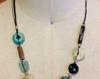 Turquoise, Silver, Scarab, Roman Glass Necklace