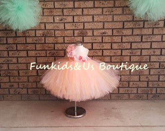 Pink Peach Full Flower girl Tutu Dress-Newborn to young Teen- birthday, wedding tutu dress