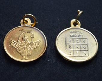 Sri Shani Yantra Raksha Kavach Pendant Amulet -Energized Engraved Laminated Yantra For Weakness weak bones Saturn Planetary Issues.