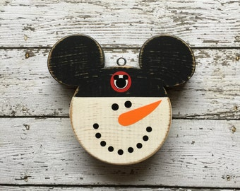 Disney Christmas Ornament | Mickey Mouse Ornament | Mickey Snowman |  Disney Wood Ornament | Mouseketeer | Hand Painted Distressed Wood