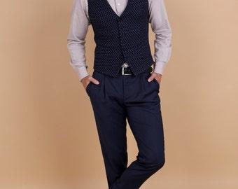 Men's pleated summer smart pants in dark blue merino wool