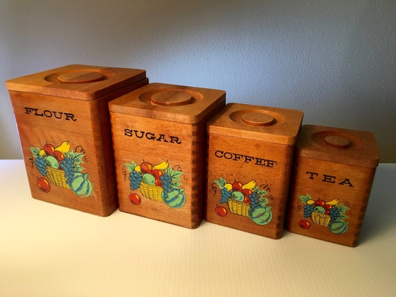 Vintage Square Nesting Wood Canisters Set Of Four Hand