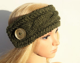 Alpaca Wool Turban, Ear Warmer Headband, Knitted Ear Warmer, Knitted Head Band, Turban Style Headband,Green Ear Warmer,Knit Turban Headband