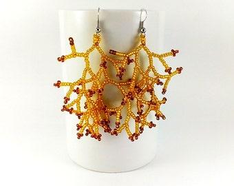 Golden yellow earrings Yellow jewelry Amber earrings Autumn earrings Fall earrings Honey earrings Yellow coral earrings Caramel earrings