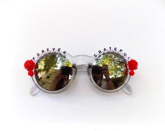 Forever Grateful hand decorated sunglasses, Grateful Dead embellished sunglasses, Dead and Company, Dead & Co Tour