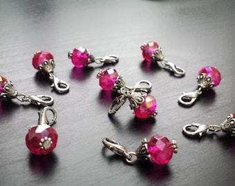 Fushia AB Crystal Dangle Charm for Floating Lockets-Gift Idea