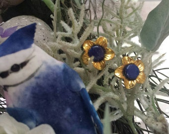Gold Tone and Lapis Flower Earrings